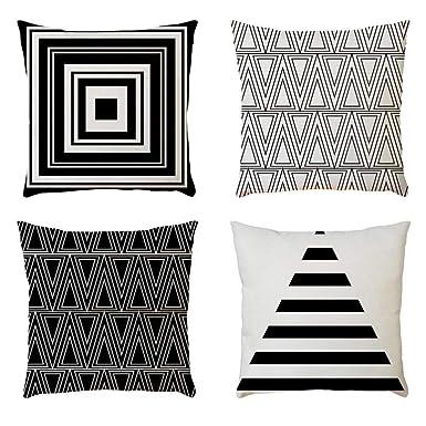 4PC Fundas Cojines 45X45 de Modernos Geométricas Vintage Turquesa Tropical Hojas - Funda de almohada Cuadrada Funda de cojín de lino Decorativa Sofa ...