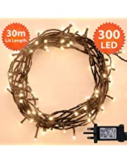 ANSIO Christmas Lights 300 LED 30m Warm White Indoor/Outdoor Christmas Tree Lights, Fairy Lights, String Lights Xmas/Bedroom/Party/Decorations 98ft Lit Length 5m Lead Wire - Mains Powered Green Cable