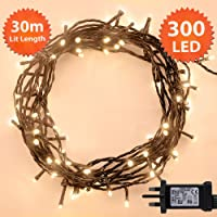 500 & 300 LEDs String Lights Warm White Green Cable Christmas Lights Outdoor String Indoor Fairy Lights Memory Timer Mains Powered