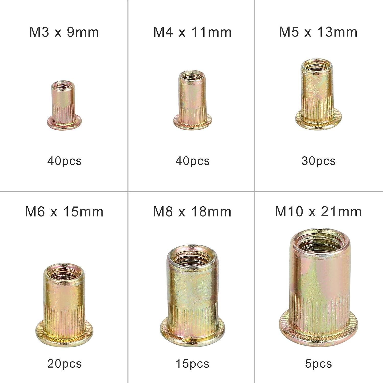 AUTOUTLET 150PCS Rivet Nut Tool Kit Mixed Zinc Carbon Steel Threaded Rivnut Nutsert Insert Set M3//M4//M5//M6//M8//M10