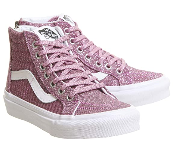 f3c8076ddd883 Amazon.com | Vans Kids' Sk8-Hi Zip-K (Lurex Glitter Pink/True 10.5 ...