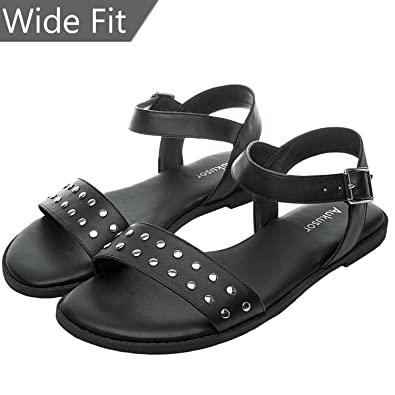 16bf3519a83 Women s Wide Width Flat Sandals - Open Toe One Band Ankle Strap Flexible  Buckle Gladiator Casual Summer Shoes((180306