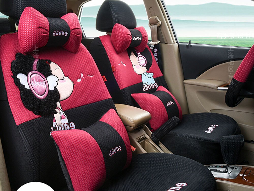 19pc MEIHUO rose red & black Seat Covers Front & Back four seasons Seating Universal women car seat cover Easy to install Fit Most Car by Maimai88