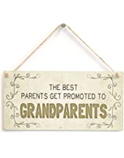 "Meijiafei The Best Parents Get Promoted To Grandparents - Beautiful Home Accessory Gift Sign Baby Announcement Gift For Grandparents To Be 10""x5"""