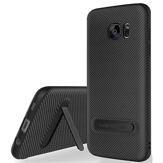 13 opinioni per Custodia Galaxy S7 Cover Nero , ivencase Morbido TPU Metallo Stand [Design fibra