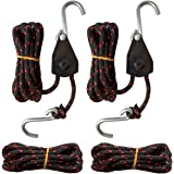 "Sentry Ratchet Kayak and Canoe Bow and Stern Tie Downs 1/4"" Grow Light Heavy Duty Adjustable Rope Hanger (2-Pack)"