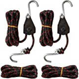 Sentry Ratchet Kayak and Canoe Bow and Stern Tie Downs 1/4' Grow Light Heavy Duty Adjustable Rope Hanger (2-Pack)