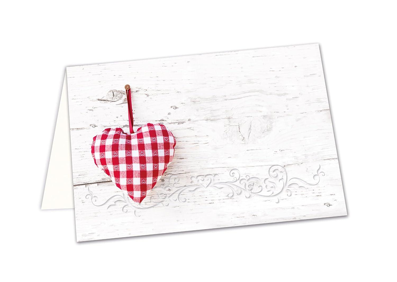 50 stück kleine weiß rot karierte herz tischkarten namens schilder sitzkarten platzkarten mit jedem stift beschreibbar zur hochzeit kommunion