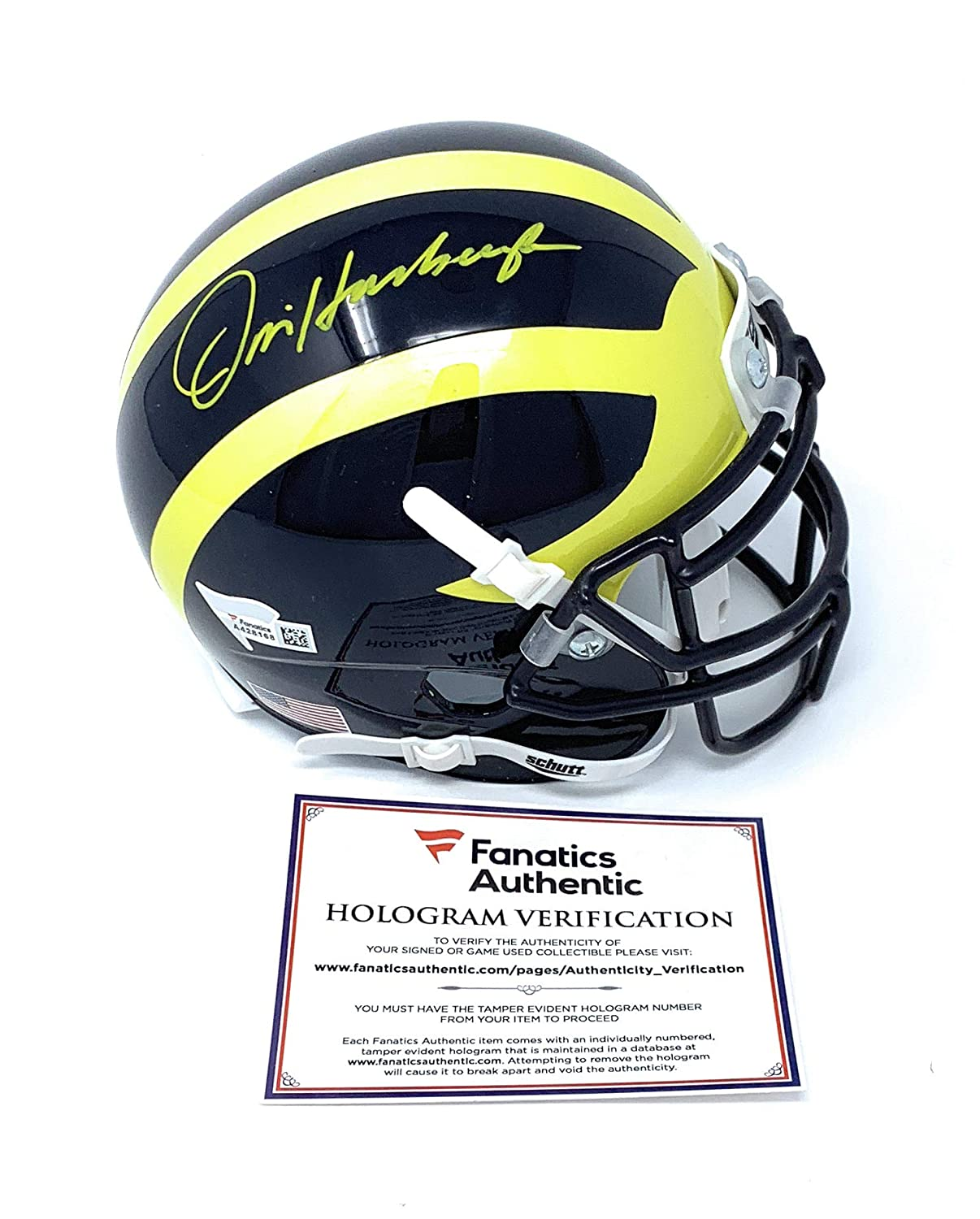 Jim Harbaugh Michigan Wolverines Signed Autograph Mini Helmet Fanatics Authentic Certified