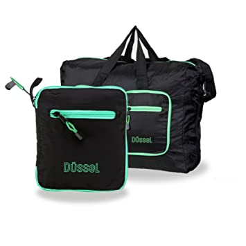 fc3ea91cb Düssel Foldable Cabin Bag : 50 X 40 X 20cm Hand luggage size for Easyjet /  Ryanair / Jet2 / Monarch (Black): Amazon.co.uk: Luggage
