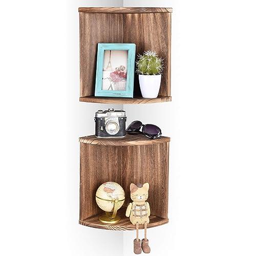 Emfogo Corner Wall Shelves Rustic Wood Floating Corner Shelves for Decor and Organization at Bedroom Kitchen Bathroom Set of 2