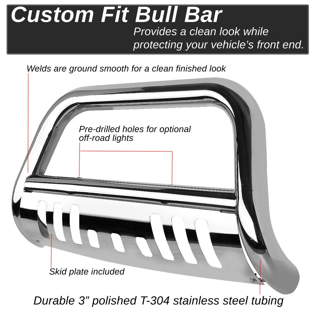 DNA MOTORING Black BURB-037-BK 3 Front Bumper Push Bull Bar