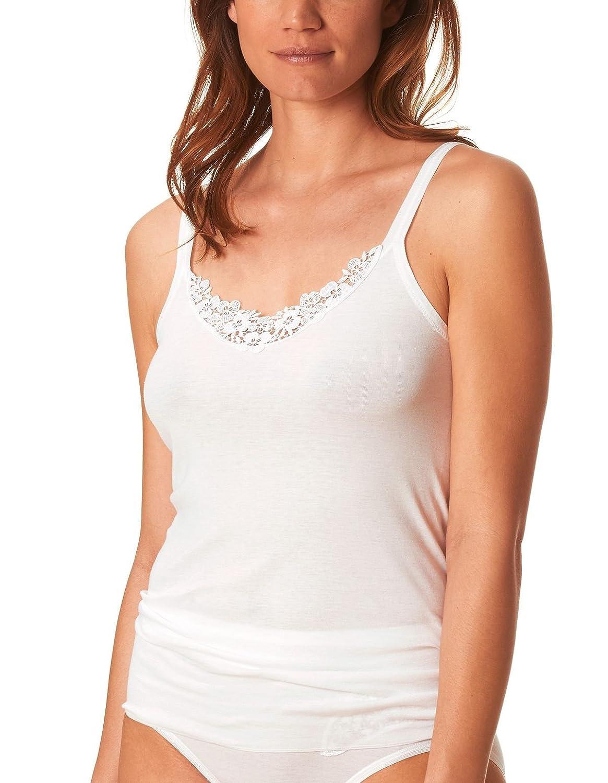 Mey Noblesse White Cotton Spaghetti Strap Lace Cami Top 25602