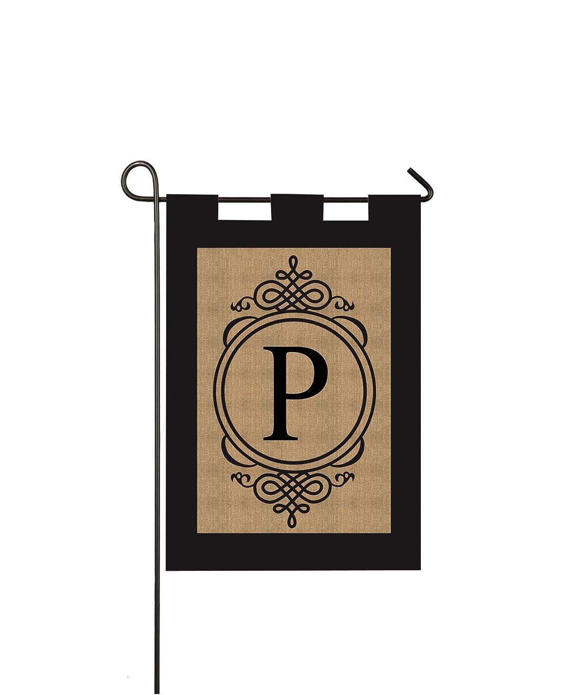 """Evergreen Flag 14B2704P Sub Monogram """"Letter P"""" Garden Flag, Burlap"""