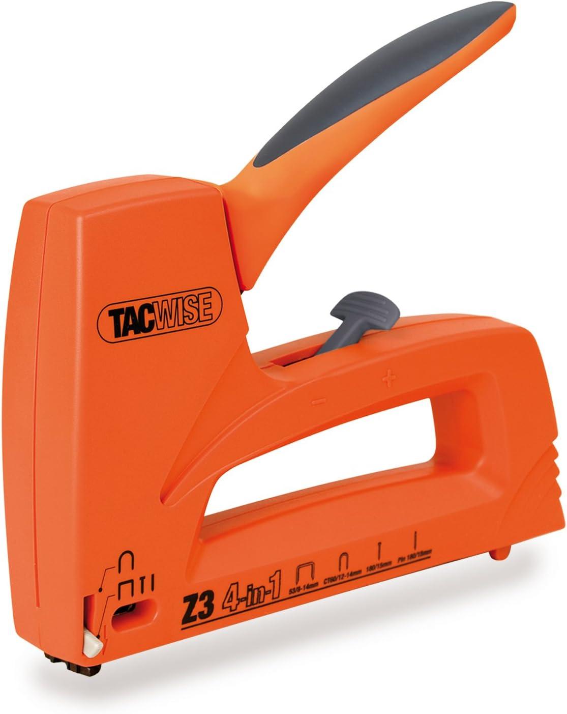 Tacwise Z3 4 en 1 - Grapadora / clavadora manual ligera para clavos y pins de 180, grapas de tipo 53 y cables de CT-60