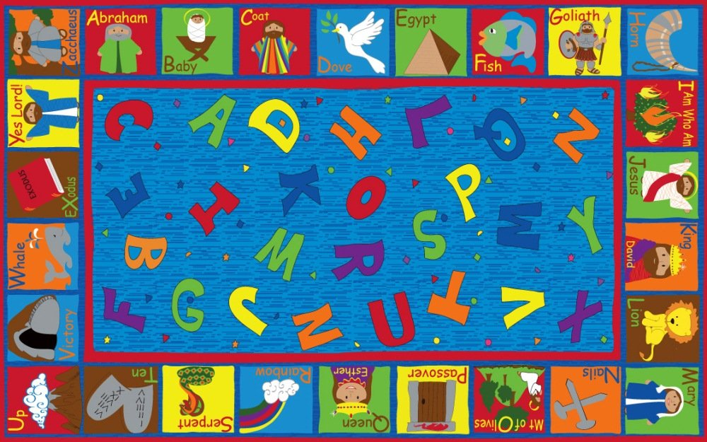 Kid Carpet FE755-34A Bible Sunday School Nylon Area Rug with Abcs, 6' x 8'6'', Multicolored by Kid Carpet