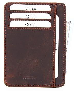 Porte Carte en Cuir Homme Portefeuille Mince RFID Blocage Porte Carte de  Crédit Porte-Cartes 1fdcfb6da2d