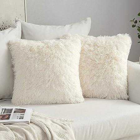 "18/"" Soft Fur Plush Square Throw Pillow Cases Home Decor Sofa Waist Cushion Cover"