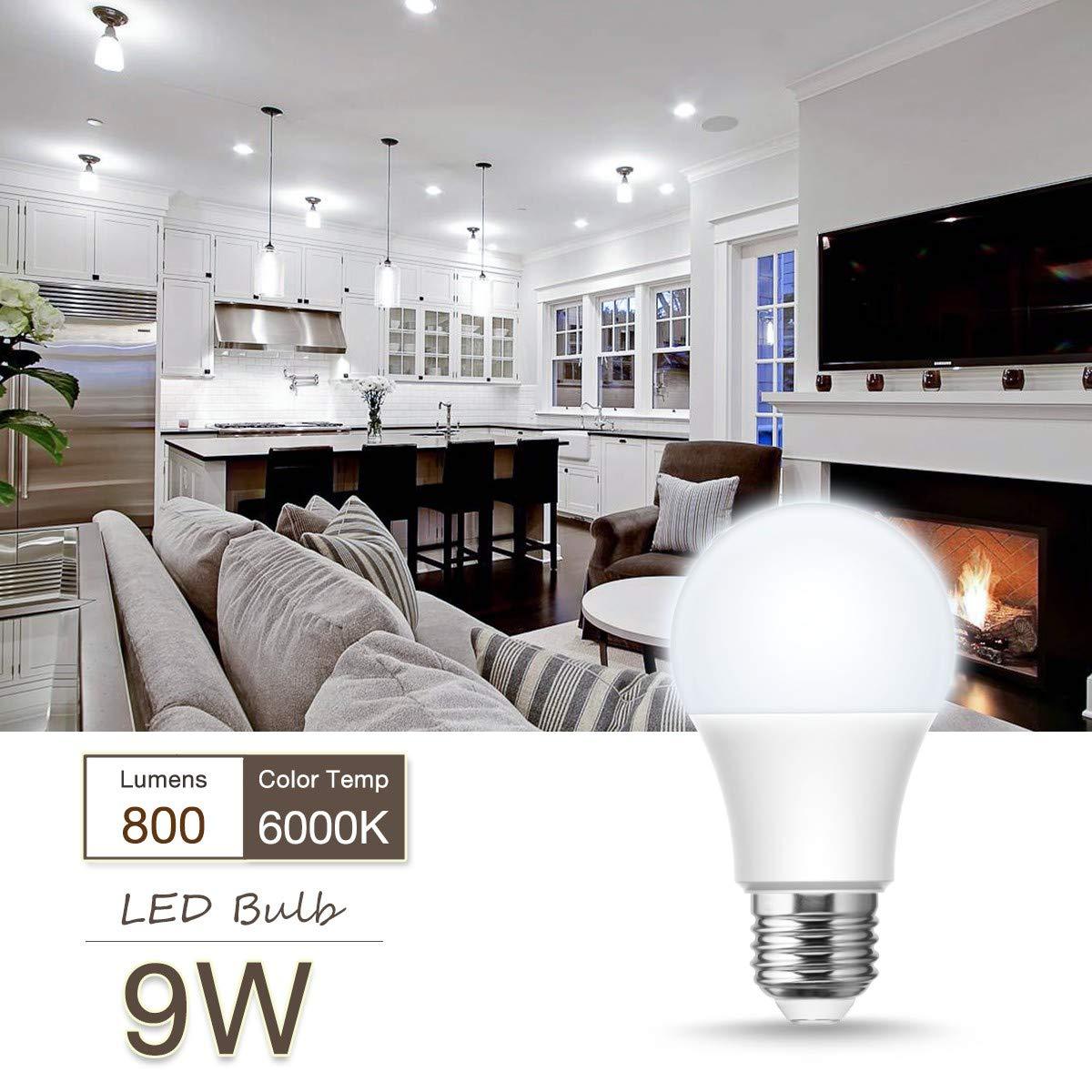 Non-Dimmable Standard LED Bulb for Home Office Bedroom Lighting E26 Medium Screw Base A19 LED Light Bulbs, LOHAS 60 Watt Equivalent LED Bulbs(9W LED 800LM 12Pcs Daylight White 6000K