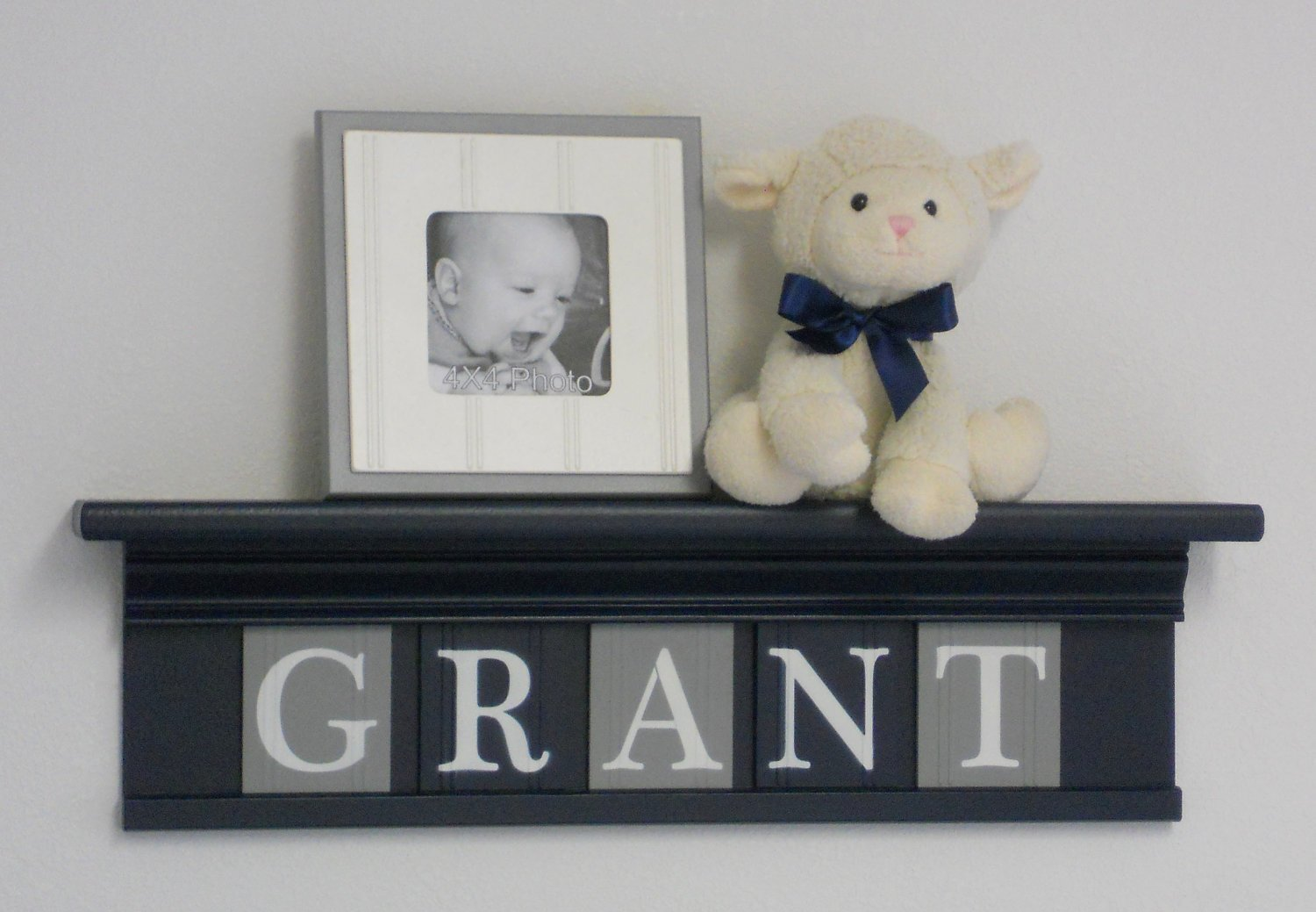 Navy Shelf with Grey and Navy Blue Wall Letters, Personalized Baby Boy Nursery Name Shelves with Gray and Navy Name Plates