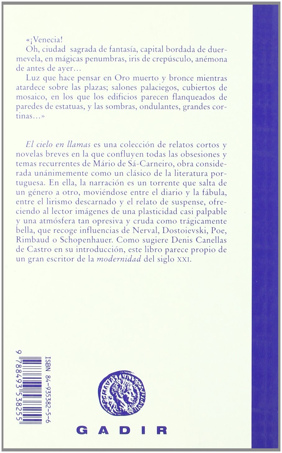 El cielo en llamas (Spanish Edition): Màrio de Sà-Carneiro: 9788493538255: Amazon.com: Books