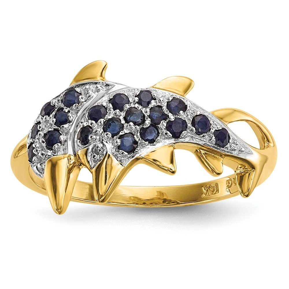 14k Gold With Rhodium Diamond and Sapphire Polished Dolphins Ring