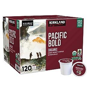 Kirkland Signature Organic Pacific Bold Dark-Roast Coffee, 120 K-Cup Pods