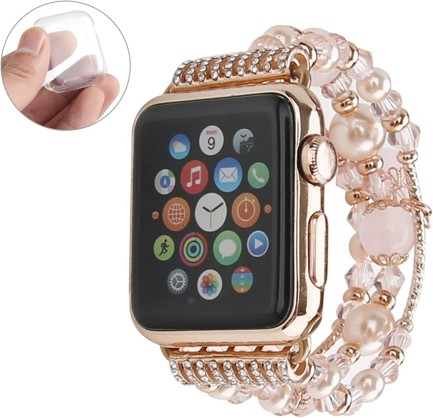 GEMEK Compatible with Apple Watch Band 38mm 40mm Rose Gold Women Agate Pearl Bracelet Strap, Fashion Handmade Elastic Replacement for iWatch Bands Series 6/5/4/3/2/1 Girls Wristband (Pink 38mm)