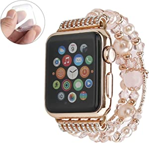 GEMEK Compatible with Apple Watch Band 42mm 44mm Rose Gold Women Agate Pearl Bracelet, Fashion Handmade Elastic Replacement Strap for iWatch Bands Series 6/5/4/3/2/1 Girls Wristband (Pink 42mm)