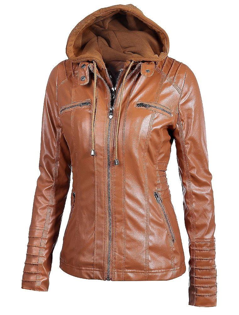 Vogstyle Donna Ragazza Giacche in Pelle Slim Corto Giacca Giacchetto Zip Hooded Jacket