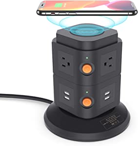 Power Strip Tower, BTU Surge Protector Wireless Charging Station with 4 USB Ports, 13A 6 Outlets and 6.5ft Extension Cord Desktop Charging Tower for Smartphone Tablet Home Office