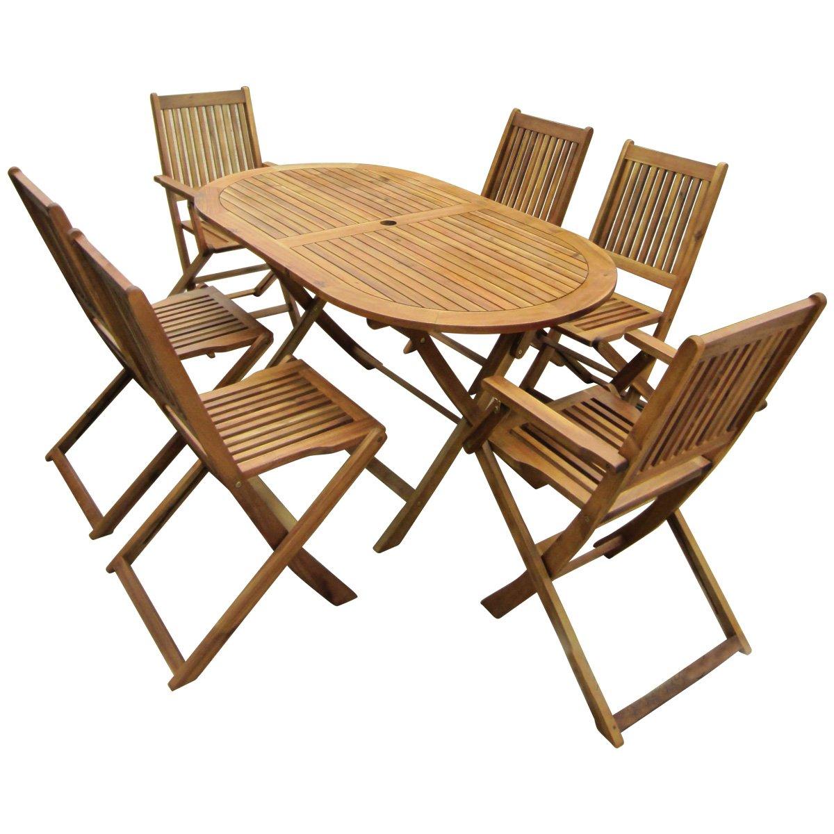 Superb Bentley Garden   Gartenmöbel Set Aus Holz   Ausziehbarer Ovaler Tisch U0026 6  Stühle