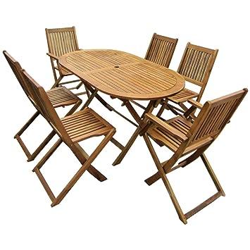 Bentley Garden   Gartenmöbel Set Aus Holz   Ausziehbarer Ovaler Tisch U0026 6  Stühle