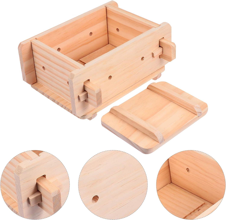 Hemoton Wooden Tofu Mould Tofu Maker Kit Wooden Rectangular Sushi Press Maker Rice Cake Mould Oshizushi Mold Box for Home Shop DIY Tofu Tools 8.84X7.66X4.13in