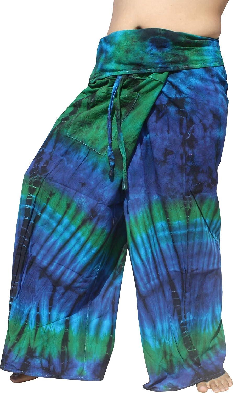 RaanPahMuang Thick Muang Cotton Thai Fishermans Pants Vibrant Tie Dye Tall Plus