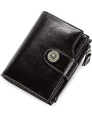 Carteras Mujer Cuero Billetera Pequeña con Cremallera RFID Bloqueo de Cera Piel Vintage Monederos Mujer con