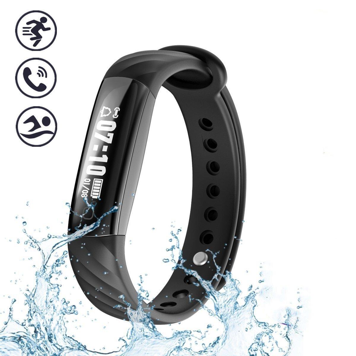 ECE piixy Fitness Trackerトラッカー活動、、耐i5 a ip67防水Bluetoothスマートブレスレットとしてステップカウンタ、睡眠モニター、歩数計、カロリーカウンターWatch for Kidsレディースメンズ B07BKQ9JY1 ブラック
