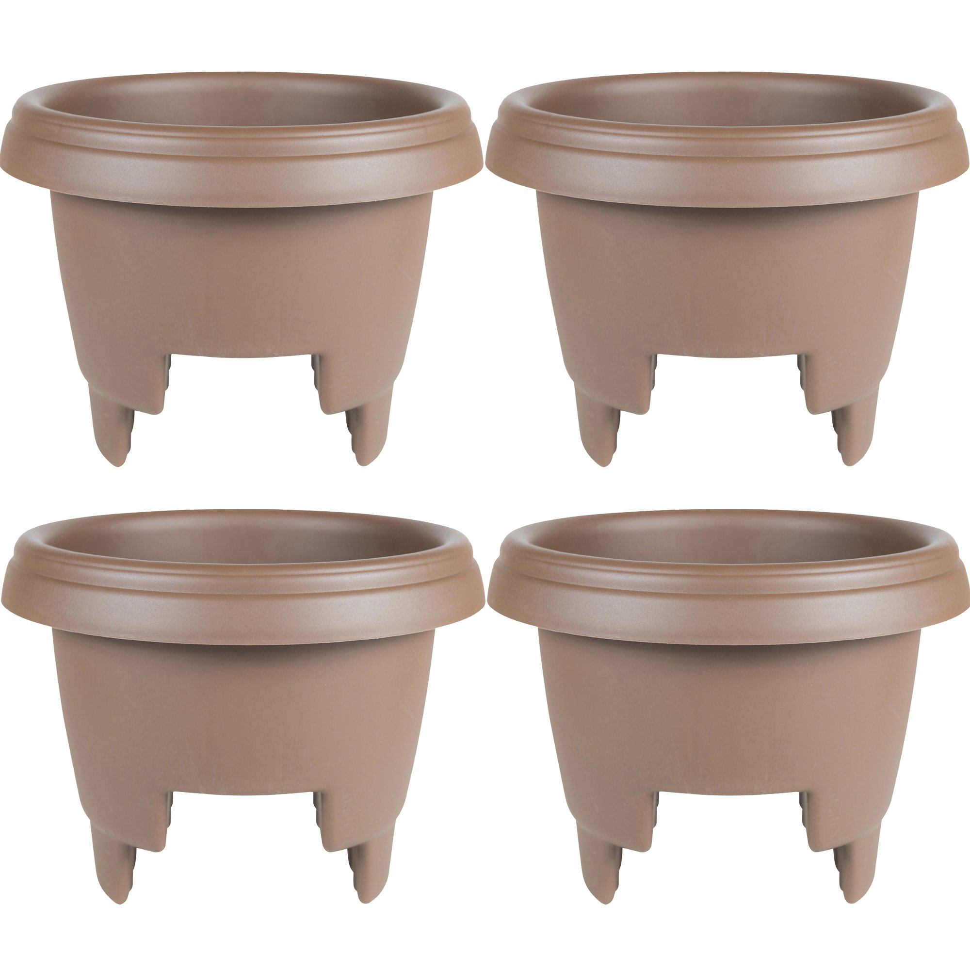 ..Bloem Deck Balcony Rail Planter, 12'', Chocolate, 4-Pack