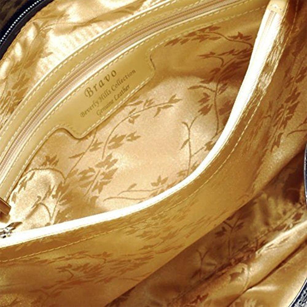 Bravo Beverly Hills Luxury HANDBAG~Irina Signature Series~Cream & Black Leather Handbag~Size Medium by Bravo Handbags Beverly Hills Collection (Image #6)