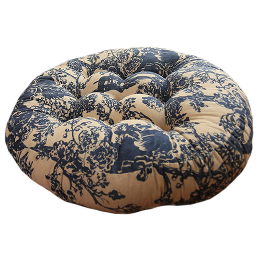 Cotton Linen Round Chair Cushion Floor Pillow Seating Cushion Floor Cushion Seat Pad Pillow, Blue and White Porcelain
