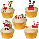 24 Stand Up Cute Santa & Elf Christmas Themed Premium Edible Wafer Paper Cake Toppers Decorations