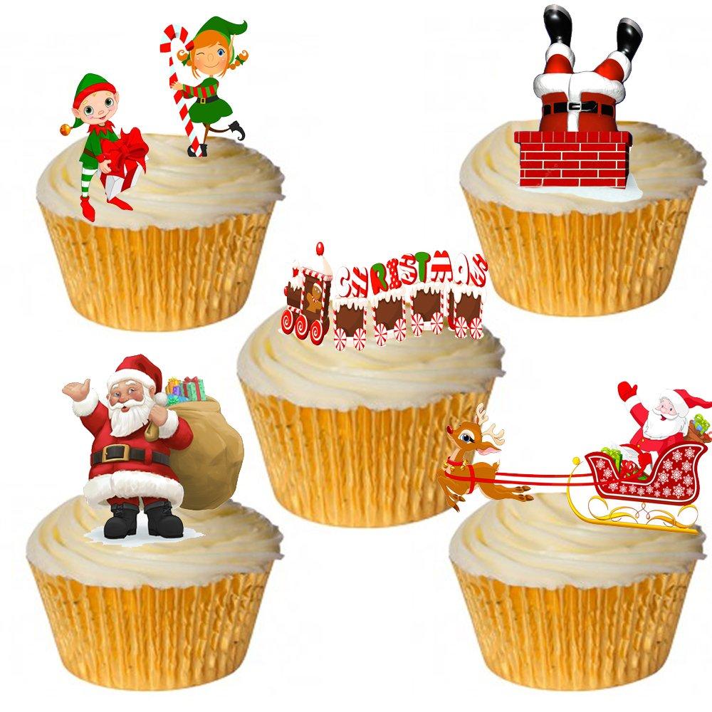 24/Stand Up /& Premium dise/ño de elfo navide/ño de Pap/á Noel decoraci/ón de pasteles papel comestible