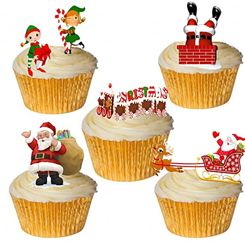 24 stand up cute santa elf christmas themed premium edible wafer paper cake toppers decorations - Christmas Cake Decorations Amazon