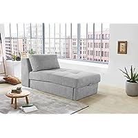 lifestyle4living Recamiere in grauem Microfaser, Sofa mit Gästebettfunktion und Bettkasten, Pflegeleichte Schlafcouch inkl. Rückenkissen.