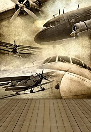 Laeacco 3x5ft Vinyl Backdrop Photography Background Retro Aviation Grunge Chic Vintage Airplane Nostalgia Stripes Wood