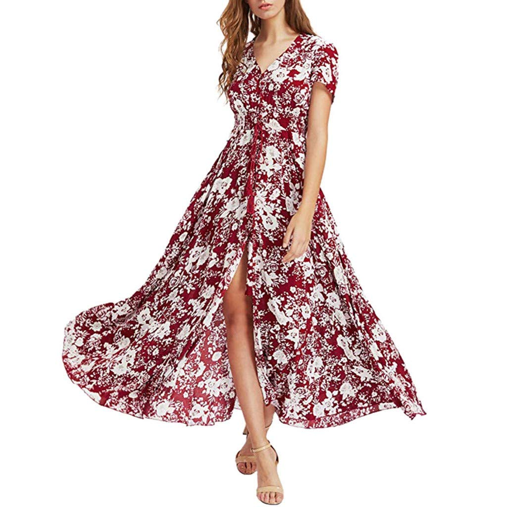 Women Short Sleeve V Neck Button Up Dresses Floral Printed High Slit Lace Up Empire Waist Pleated Dress (Red, 2XL)