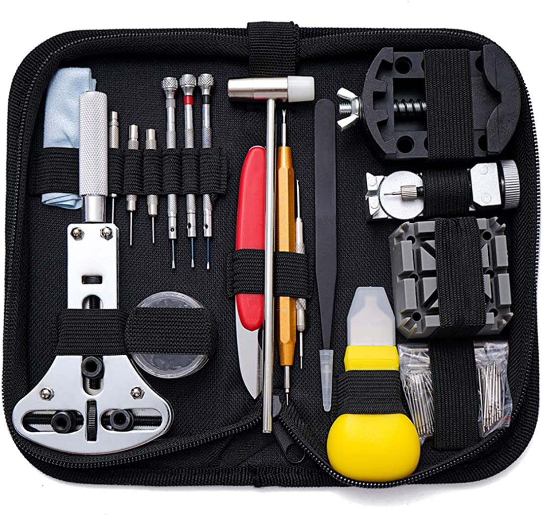 Watch Repair Kit Professional Spring Bar Tool Set,Watch Battery Replacement Tool Kit,Watch Band Link Pin Tool Set with Carrying Case and Instruction Manual