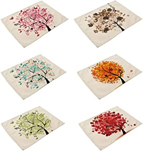HACASO Tropical Plants Forest Pattern Dining Table Mats Set of 6 Cotton Linen Placemats(3)
