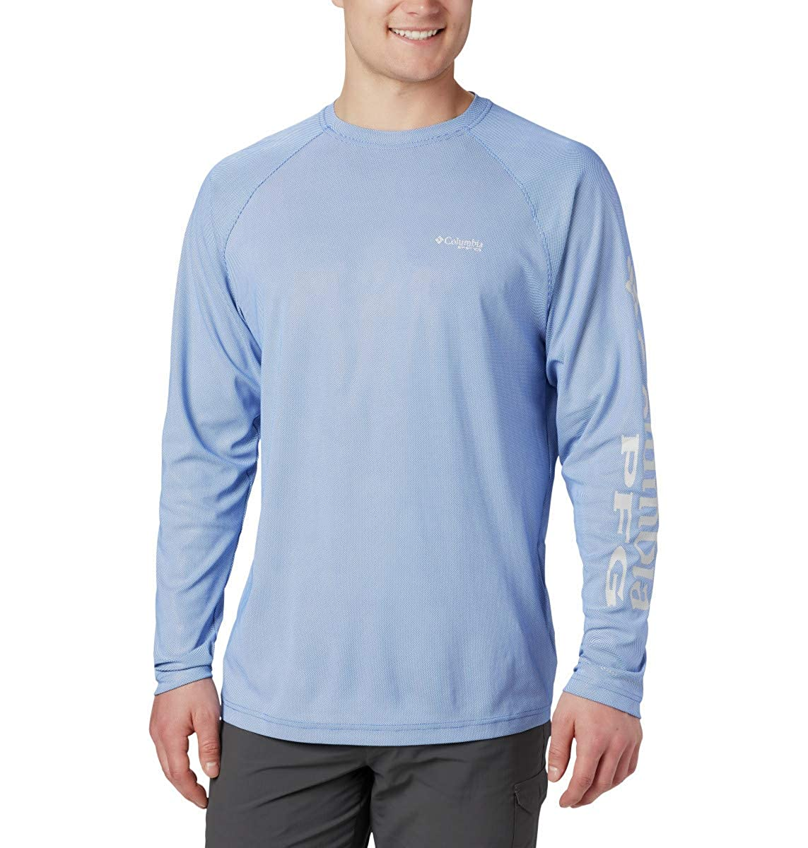 Mens M Columbia PFG Terminal Deflector Printed Long Sleeve Fishing Shirt Solar