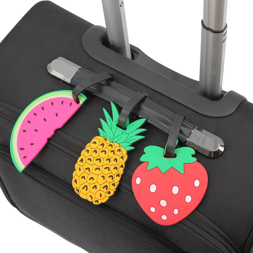 Set of 5 Banana, Pineapple, Strawberry, 2 Watermelons Mziart Colorful Fruits Luggage Tags Baggage Suitcase Backpack Labels